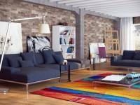 Гостиная в стиле лофт — молодежный вариант дизайна (100 фото)