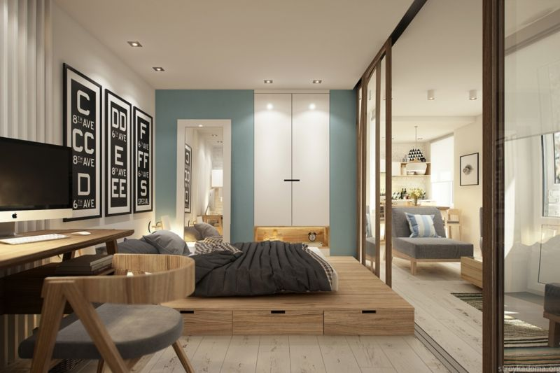 Design of an apartment of 40 square meters. m.
