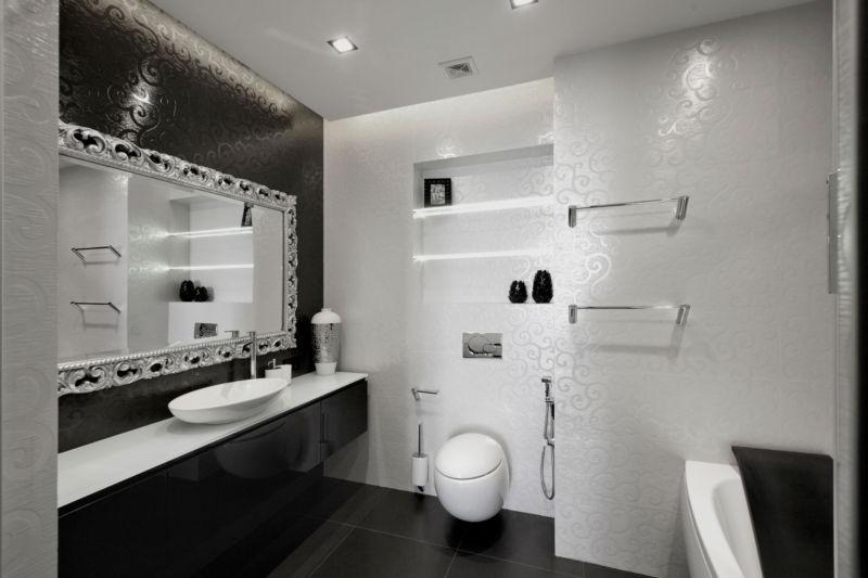 фото черно белая ванная