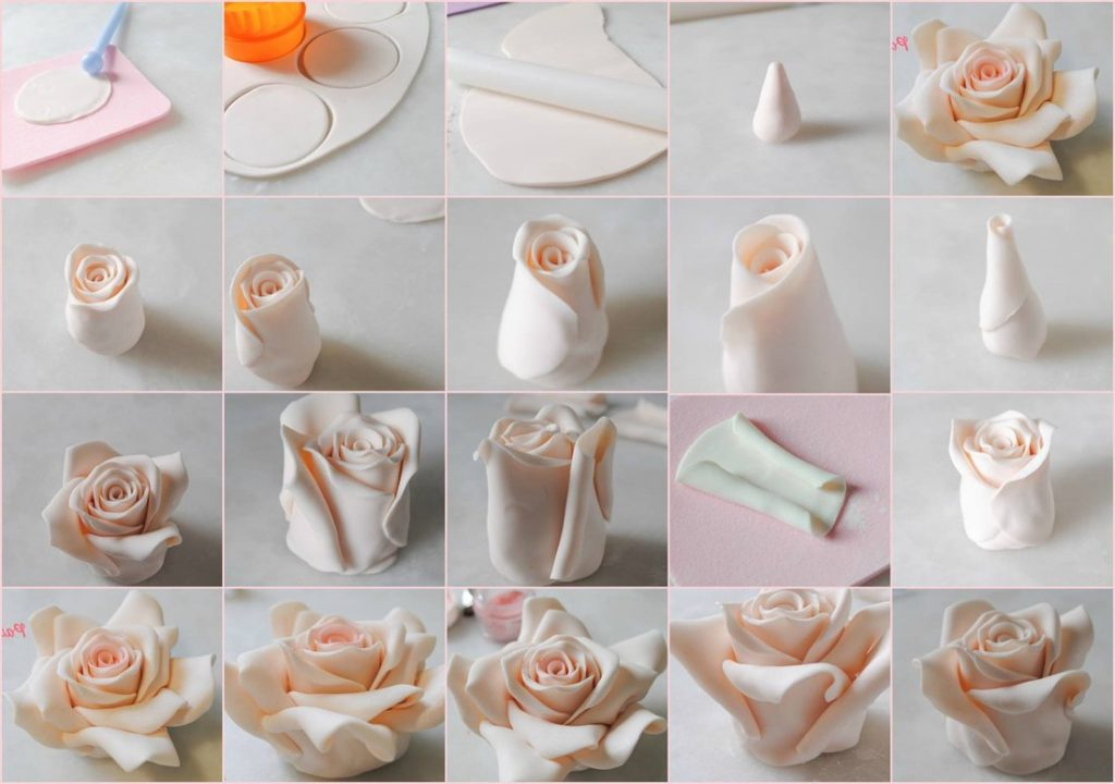 Розы из мастики пошагово своими руками