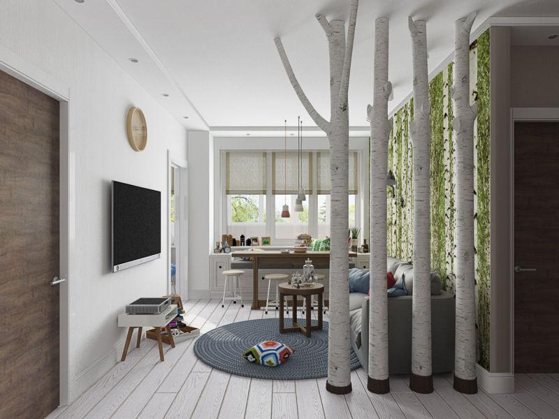 Дизайн двухкомнатной квартиры 45.5+3.8 кв.м.