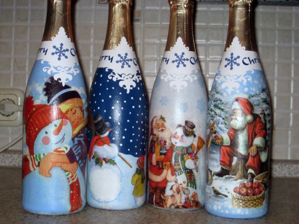 Новогодние бутылки шампанского своими декупаж