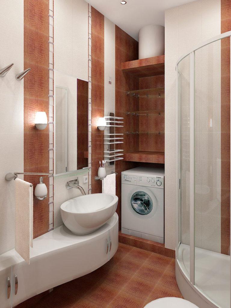Интерьер ванной комнаты маленького размера с душевой кабиной фото