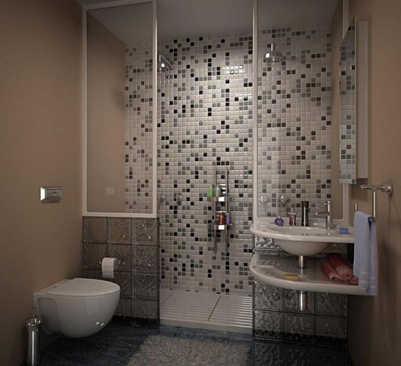 astounding-modern-small-bathroom-ideas-with-grey-mosiac-tile-open-shower-wall-design-ideas