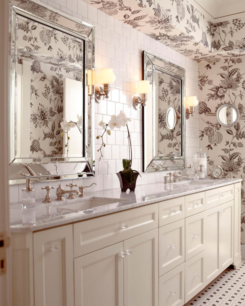 charcoal-white-floral-wallpaper-bathroom-hyde-evans-design