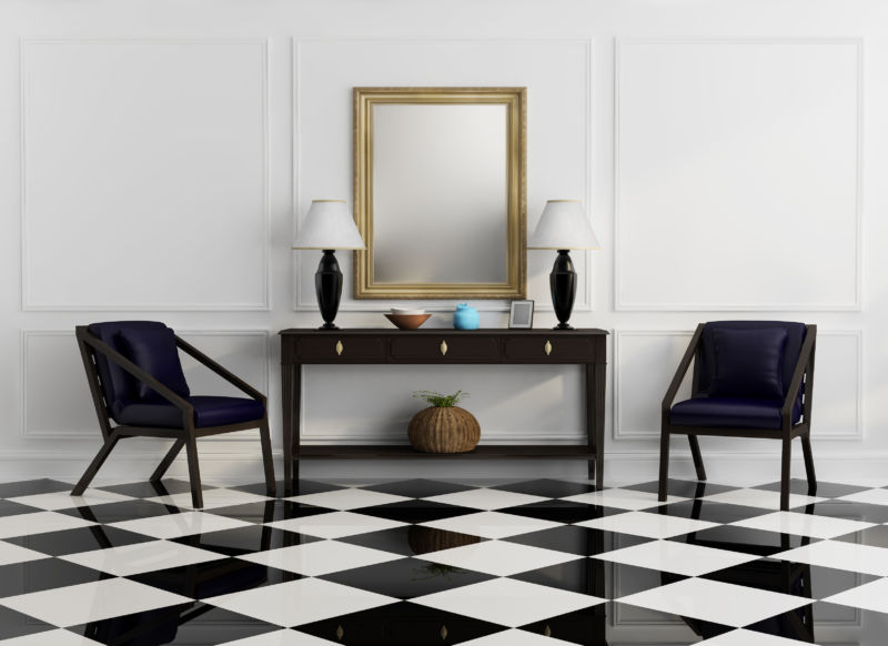 Vintage console table with purple chairs and checker floor