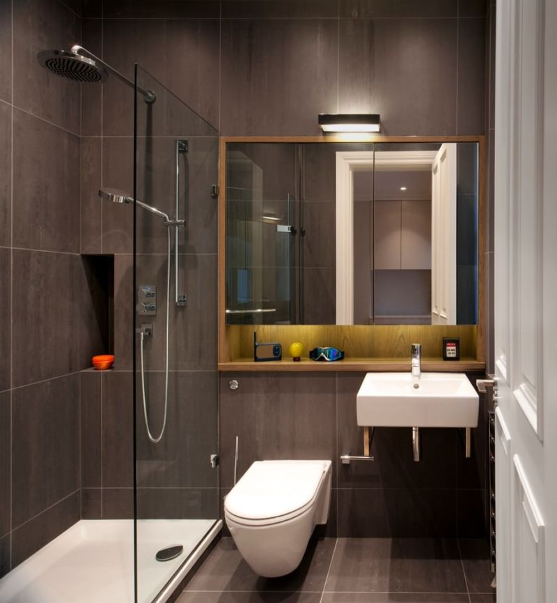 narrow-brown-bathroom-design