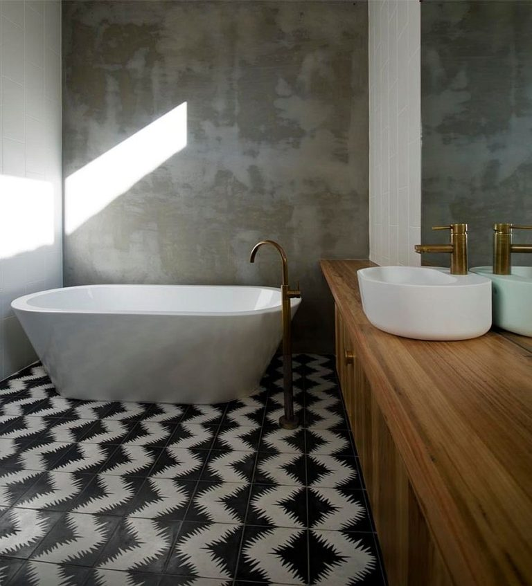 Ceramic tile for bathroom floor