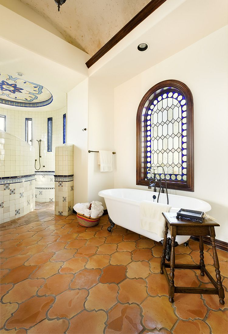 saltillo-tile-in-the-bathroom-brings-warmth-to-the-modern-mediterranean-setting