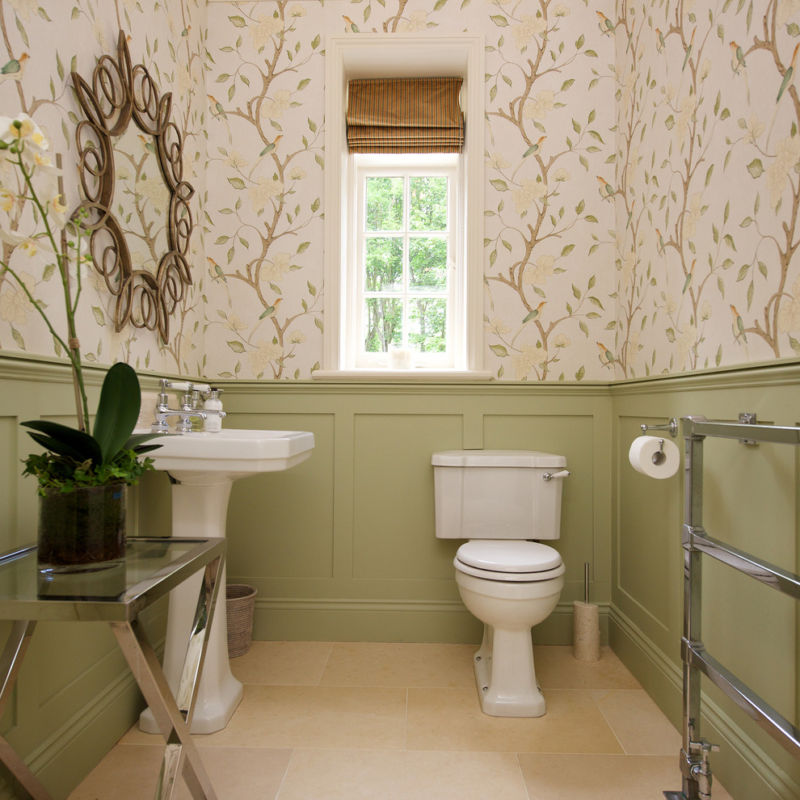 striped-wallpaper-bathroom-powder-room-traditional-with-striped-roman-blind-side-table-4
