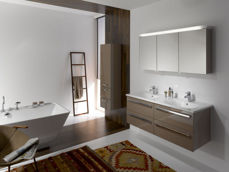 alluring-modern-bathroom-design-ideas-accessories-interior-with-brown-floating-vanity-cabinet-along-two-white-washbasin-also-chrome-faucet-plus-wall-mounted-rectangle-mirror-also-white-free-standing-b