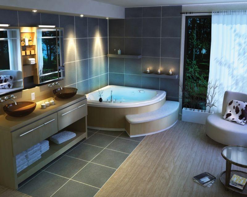 amazing-decorating-ideas-for-exciting-bathrooms-inspiring-designer-interior-post-modern-style-astounding-white-acrylic-corner-bathtubs-near-nice-white-fabric-sliding-curtains-windows-as-well-as-bathro