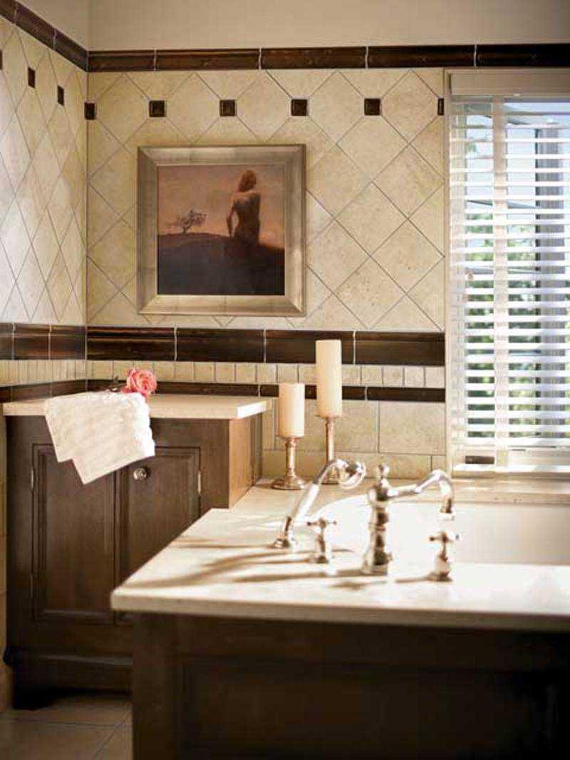 bathroom-contempo-image-of-bathroom-decoration-using-diagonal-travertine-tile-bathroom-wall-including-single-solid-oak-wood-cream-bathroom-vanity-and-white-blind-bathroom-window-treatment-fantastic-im
