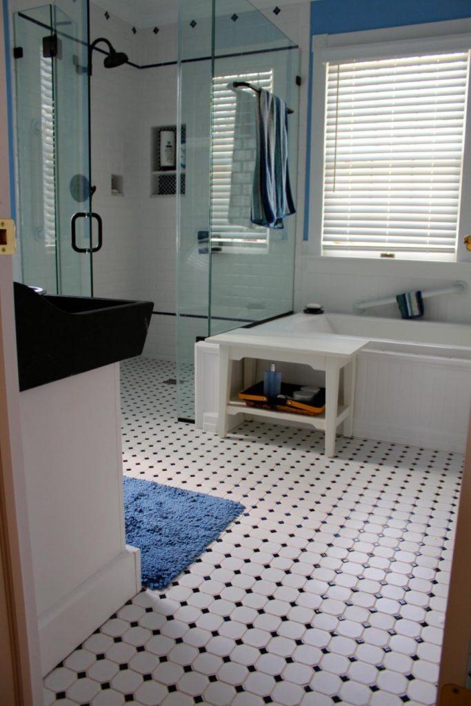 Black and white hexagon bathroom floor tile
