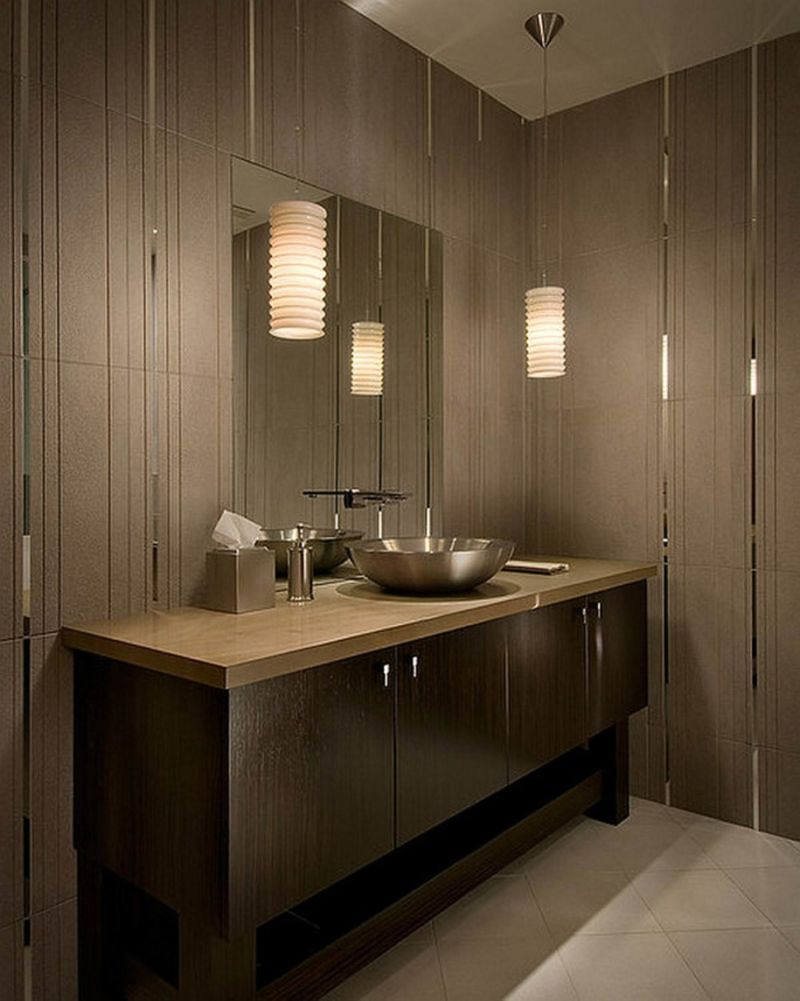 bathroom-hot-picture-of-beige-bathroom-decoration-using-white-cylinder-beehive-bathroom-pendant-lamp-shade-including-light-grey-tile-bathroom-wall-and-round-stainless-steel-bathroom-vessel-sinks-entra