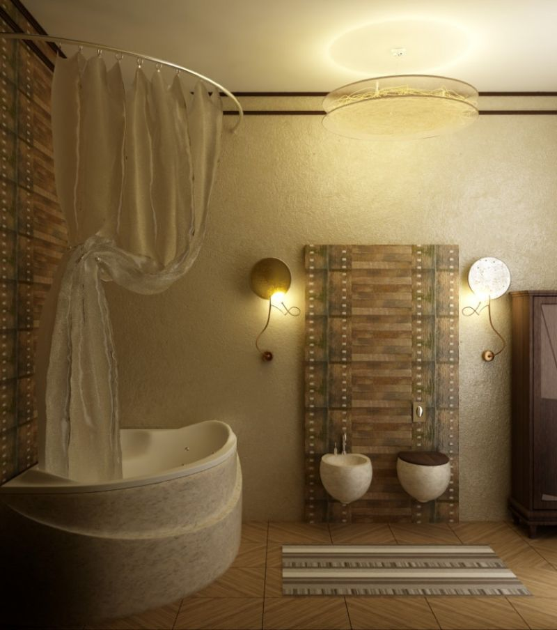 bathroom-ideas-with-floor-tiles-and-unique-bathtubs-shape-also-curtain-and-mounted-toilet-also-wall-lamps-and-storage-cabinet-also-pendant-lamps-captivating-small-bathroom-design-plans-840x949