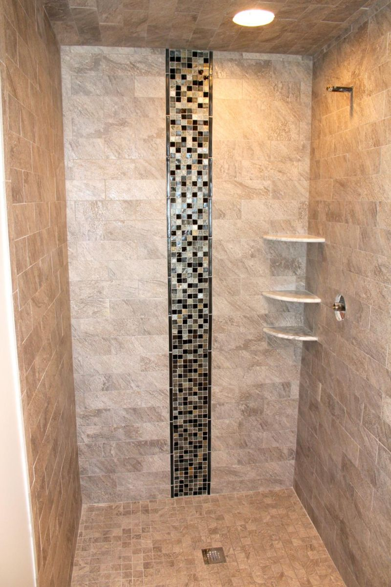 bathroom-interior-natural-stone-tiled-shower-wall-panel-with-glass-mosaic-accent-combined-with-three-tier-white-acrylic-corner-shelves-pictures-of-tiled-showers