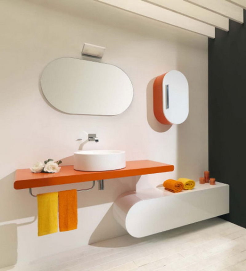 beauty-white-concept-home-interior-design-for-contemporary-with-orange-floating-rack-has-a-porcelain-vessel-sink-and-towel-racks-plus-oval-wall-mirror-frameless-with-new-bathrooms-ideas-and-luxury-ba