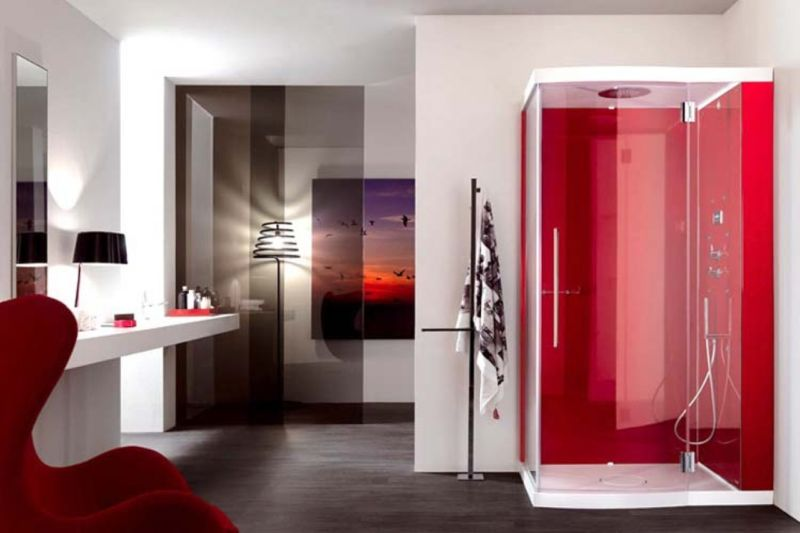comfortable-egg-chair-on-awesome-red-bathroom-design-feat-glass-shower-door-plus-floating-vanity