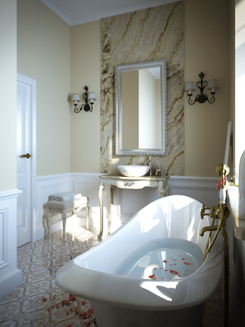 contemporary-small-bathroom-design-with-cool-wall-lamps-and-vertical-framed-wall-mirror-above-classic-antique-wooden-washbasin-also-elegant-white-gloss-acrylic-soaking-tub-be-equipped-solid-brass-port