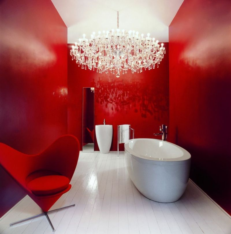cool-inexpensive-bathroom-remodeling-ideas-for-bathroom-with-large-chandeliers-lamp-and-red-painting-accent-walls-also-classic-luxury-hanging-lamp-decorating-inspirations
