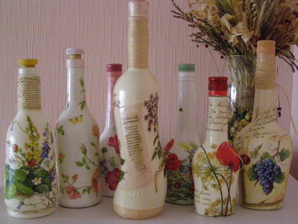 Декупаж бутылок  для начинающих