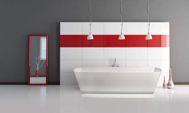 inspiration-bathroom-charming-triple-industrial-pendant-lights-over-freestanding-tub-as-well-as-red-stripes-wall-decal-as-decorate-in-grey-and-red-bathroom-decorating-ideas-enticing-red-bathroom-for