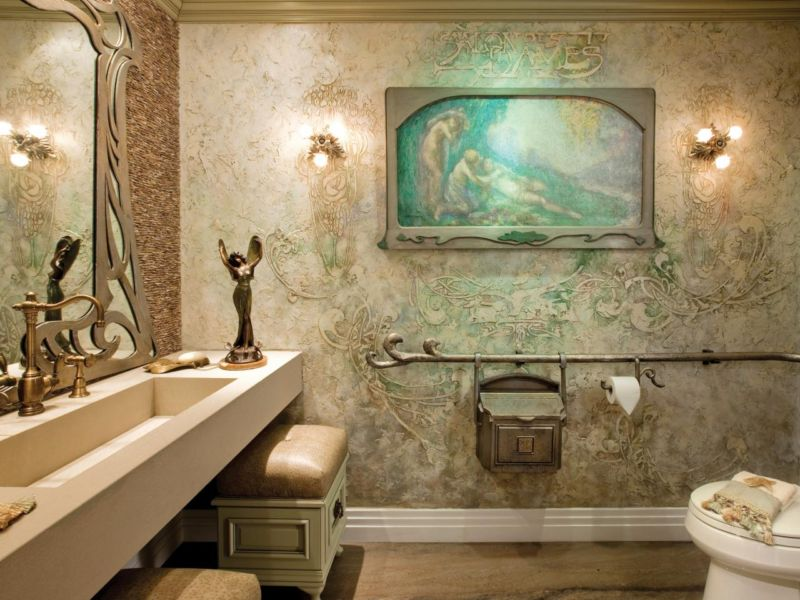 magnificent-art-deco-bathroom-ideas-with-cream-texture-wall-paint-like-bathroom-kings-and-cream-wooden-rectangle-table-including-washbasin-and-gold-stainless-faucet-in-sink-also-awesome-interior-desig