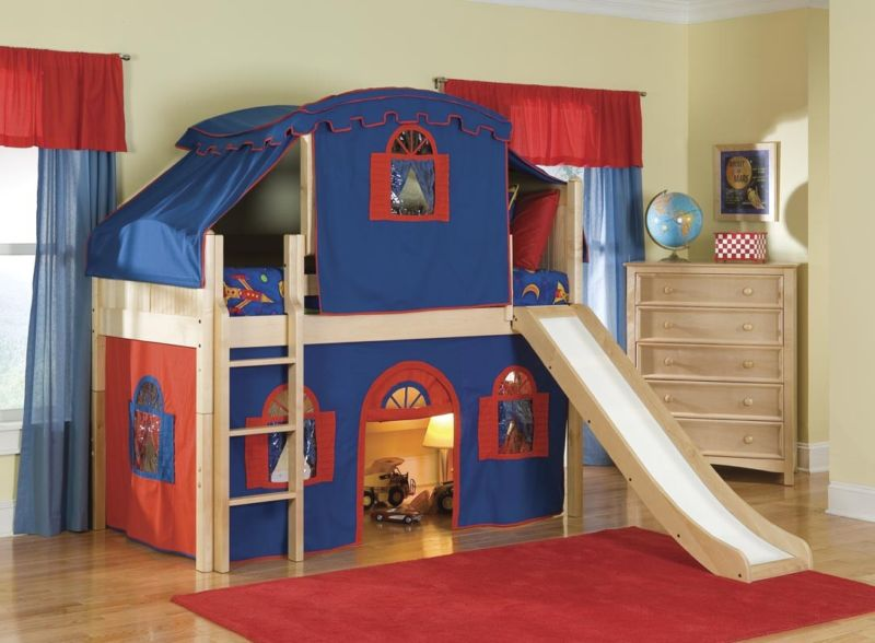 marvelous-cool-kid-beds-with-cream-wooden-bunk-bed-tent-be-equipped-red-blue-fabric-tent-on-the-beds-and-bright-brown-wooden-cabinet-5-drawer-near-window-also-red-fur-rugs-above-wood-floor-with-kids-b