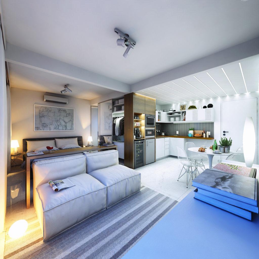 Интерьеры квартир-студий 30 кв.м с фото
