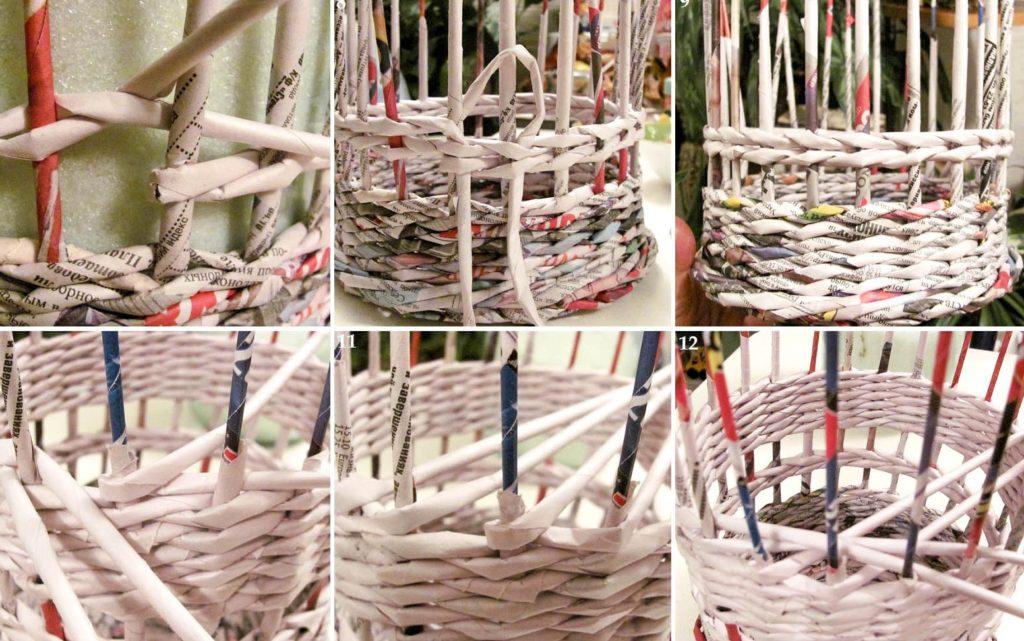 Плетение из газетной бумаги для начинающих