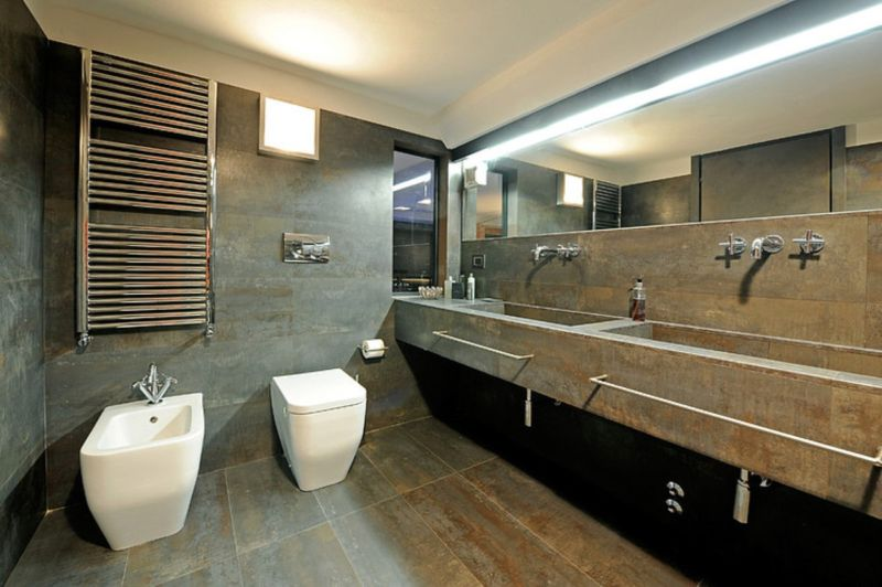 stunning-bathroom-design-presenting-concrete-double-bathroom-vanity-undel-large-wall-mirror-and-chrome-polished-metal-towel-bar-over-white-acrylic-bidet-near-toilet