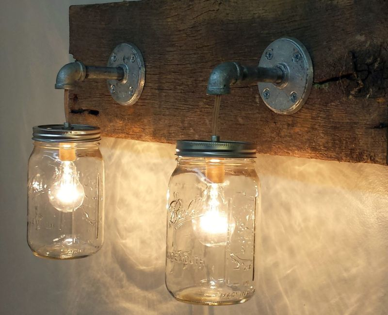 uncategorized-cheap-and-unique-bathroom-vanity-light-with-cool-jar-mirror-on-combined-teak-wood-for-vintage-concept-beautiful-bathroom-vanity-lights-decoration