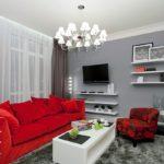 серый, интерьер, гостиная, фото, дизайна