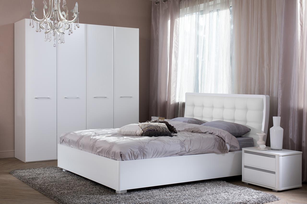 спальный гарнитур белый глянец