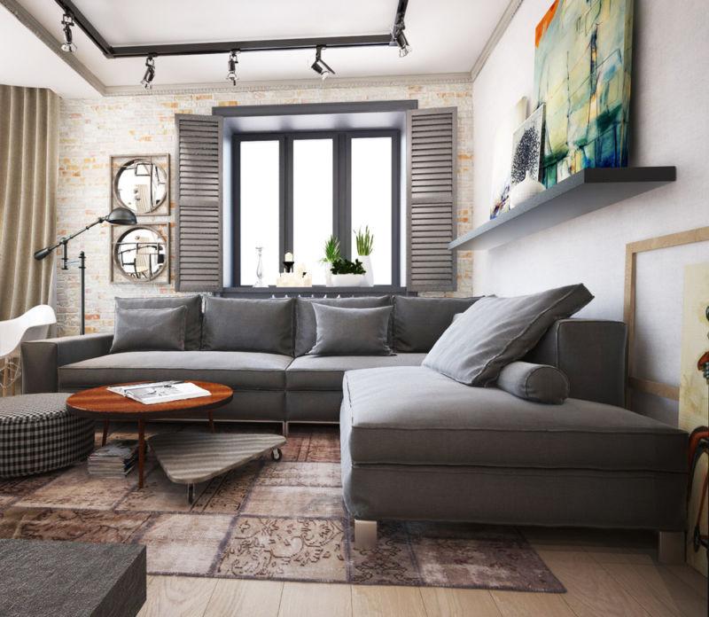 Дизайн современной гостиной с камином