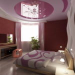натяжной, потолок, спальня, фото