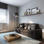 коричневый зал в стиле минимализм