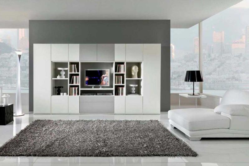 amazing-living-room-color-design-with-modern-interior-living-room-with-white-large-bookcase-living-room-design-also-modern-fur-rug-grey-design-ideas