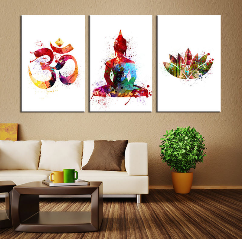 colorful-modern-buddhist-wall-art-white-background-wooden-canvas-interior-living-room-design-sofa-symbol