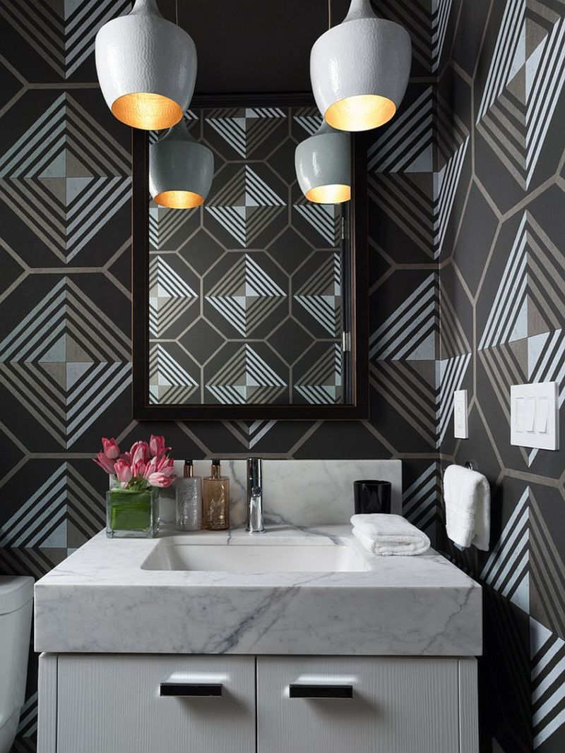 dashing-contemporray-powder-room-with-geometric-wallpaper-from-cowtan-and-tout