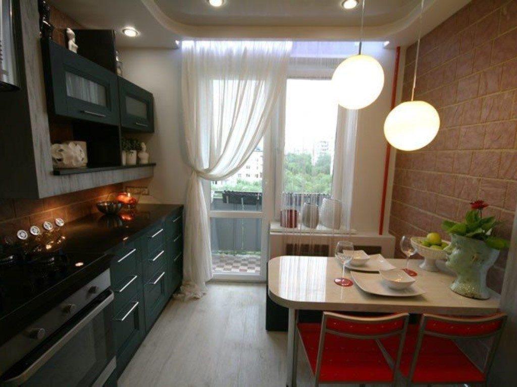 Кухня дизайн интерьер фото с балконом