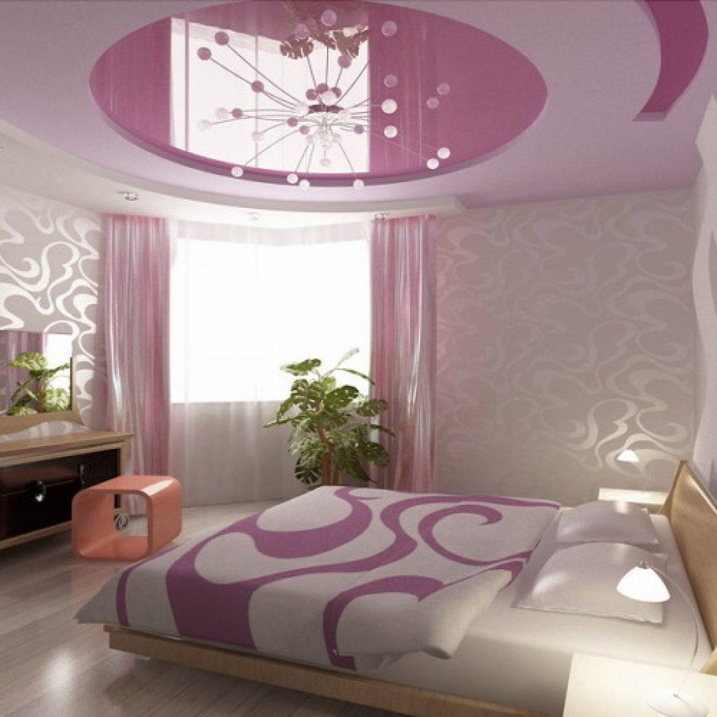 натяжные потолки для спальни виды фото