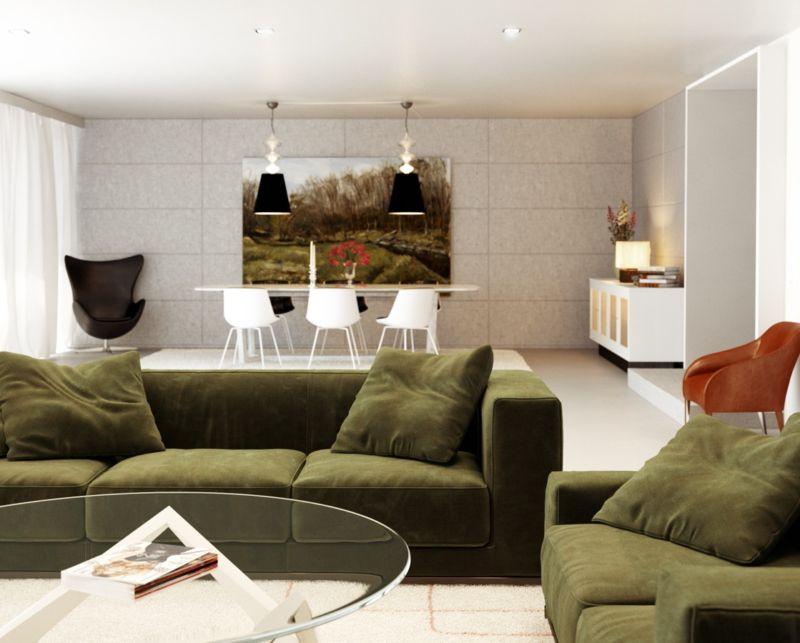 green-white-orange-living-room