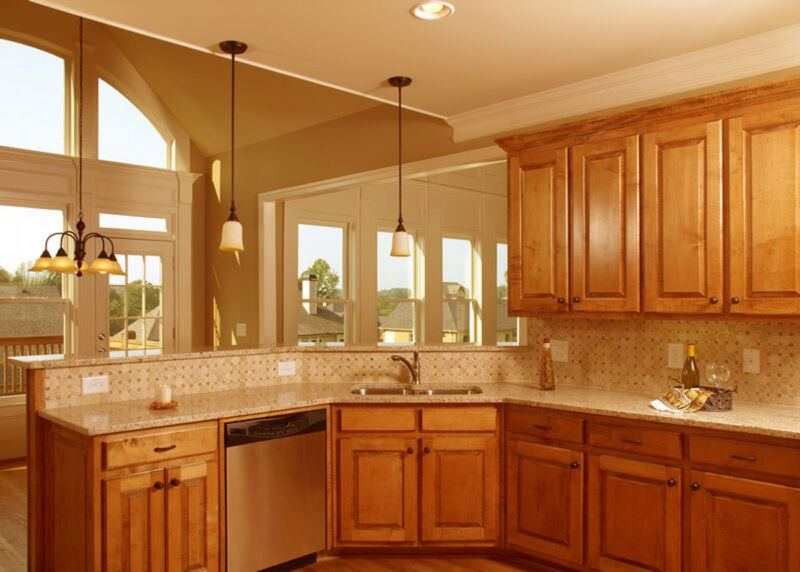 traditional-medium-wood-small-kitchen-design-feat-corner-sink-and-modern-kitchen-backsplash-design-ideas-plus-attractive-hanging-lamp-design-plus-light-brown-wood-flooring-ideas