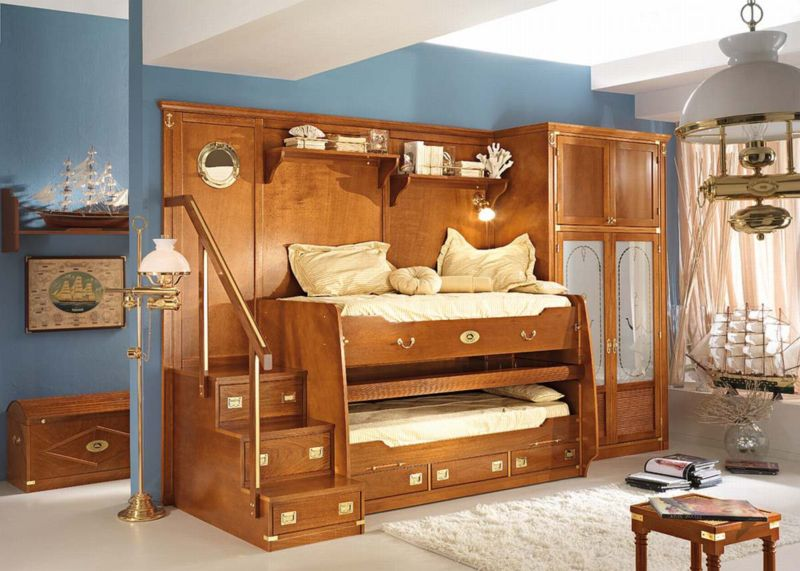 awesome-kids-boy-bedroom-furniture-design-showing-unique-brown-oak-bunk-beds-with-combined-tall-wardrobe-and-some-drawers-plus-stainless-steel-handrail-stairs