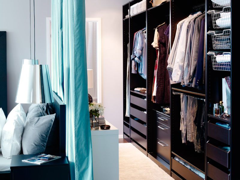 awesome-open-wardrobe-decoration-showcasing-sleek-black-wooden-furniture-with-neatly-walk-incloset-and-blue-curtain-divider-near-bedroom-ideas-walk-incloset-furniture-interior-design