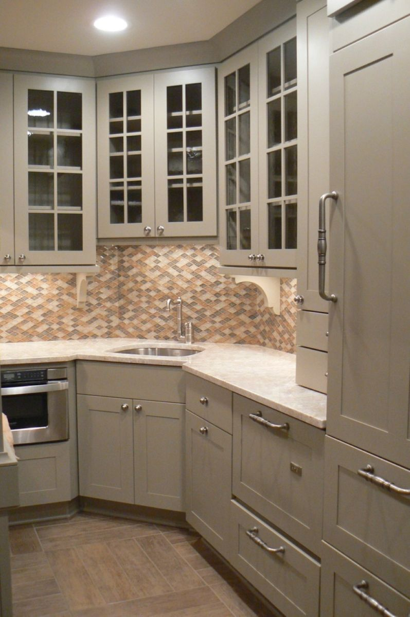 contemporary-grey-kitchen-storage-cabinets-plus-lovely-corner-sink-design-with-mosaic-backsplash-tile