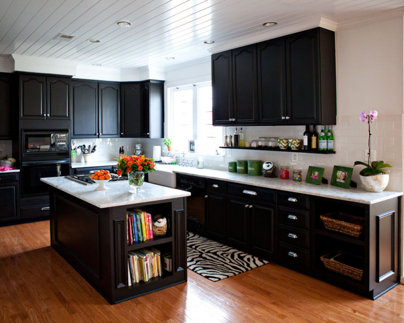 dark-kitchen-cabinets-with-antique-white-island