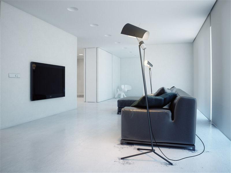 освещение в зале в стиле минимализм